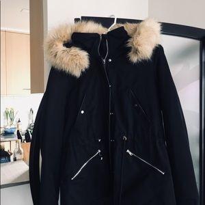 Women Trafaluc Parka Coat ZARA black hooded Jacket